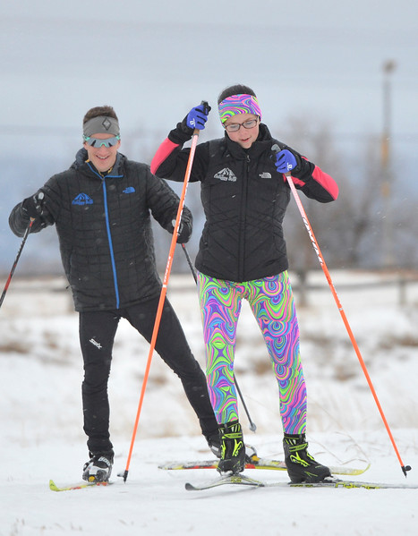 Justin Sheely | The Sheridan Press<br /> <br /> Ali Magelky, right, and ski coach John Kirlin hit the trail during cross-country skiing practice at South Park Tuesday, Jan. 30, 2018. Magelky is the sole skier on the new Antelope Butte Foundation Nordic Club and set a goal to qualify for the Junior National Championships during her high school career.