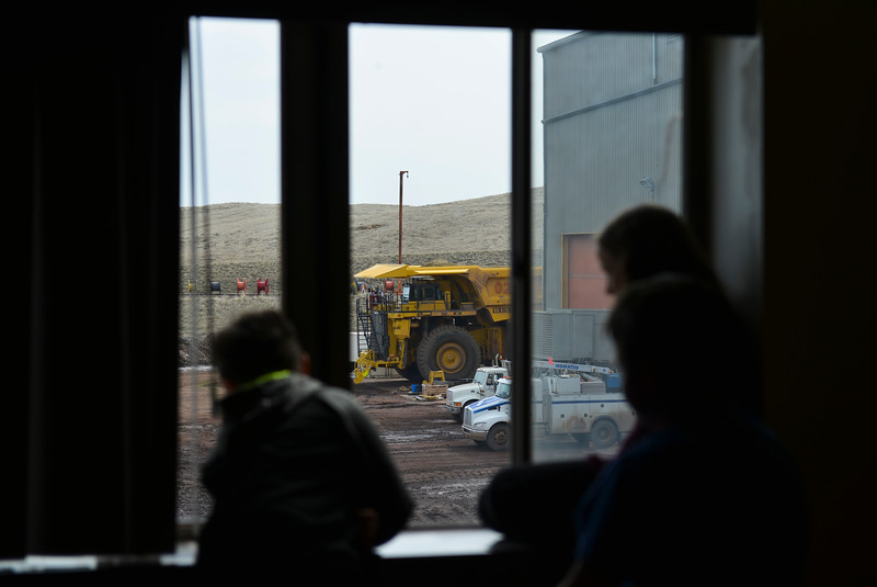 Justin Sheely | The Sheridan Press<br /> Students look at equipment outside the room at Decker Mine Tuesday, April 11, 2018. Decker Mine uses at least 150,000 feet of plastic line for blasting each year. The mining company approached Sheridan County School District 2 student to come up with ideas for uses of the lines to reduce waste.