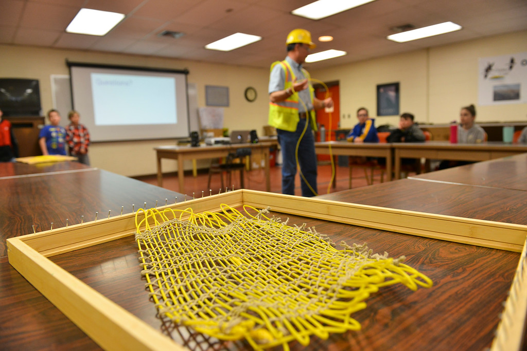 Justin Sheely | The Sheridan Press<br /> A woven sample of surface tie-in lines are seen at Decker Mine Tuesday, April 11, 2018. Decker Mine uses at least 150,000 feet of plastic line for blasting each year. The mining company approached Sheridan County School District 2 student to come up with ideas for uses of the lines to reduce waste.