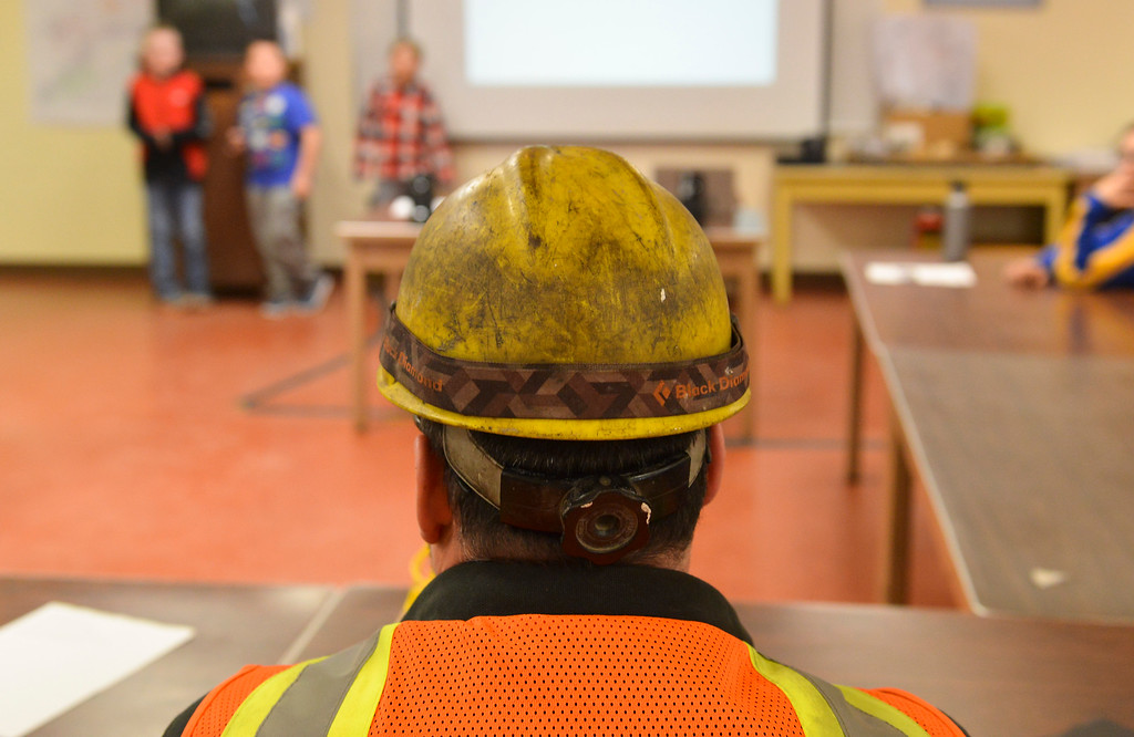 Justin Sheely | The Sheridan Press<br /> Fourth-grade students give their presentation for alternative uses of surface tie-in lines at Decker Mine Tuesday, April 11, 2018. Decker Mine uses at least 150,000 feet of plastic line for blasting each year. The mining company approached Sheridan County School District 2 student to come up with ideas for uses of the lines to reduce waste.