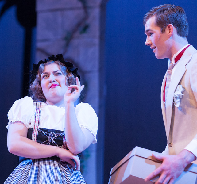 "Tibby McDowell | The Sheridan Press<br /> Taylor Myers, as the maid, left, speaks with Quinton Brooks, as Tony, during a dress rehearsal of the musical ""The Boy Friend"" at Sheridan High School Tuesday, Feb. 27, 2018. The musical shows at Sheridan High School March 1 - 3 at 7:15 p.m. and Sunday, March 4 at 2 p.m."