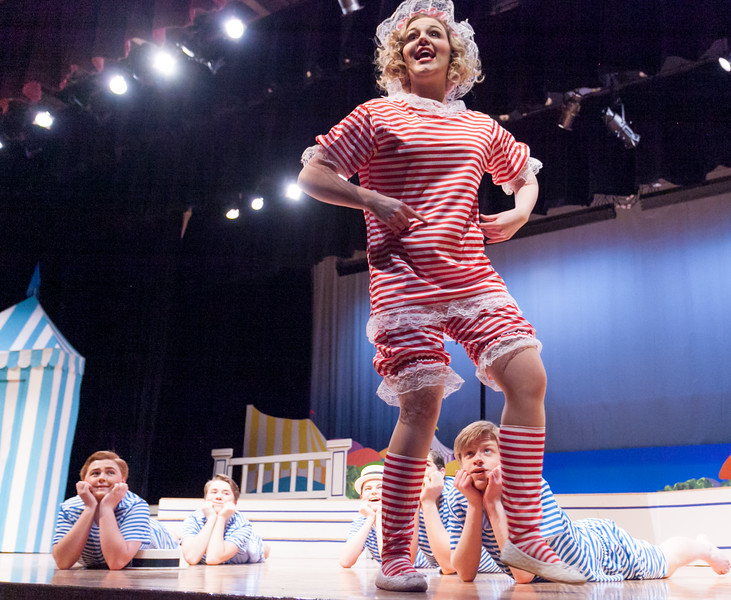 "Tibby McDowell | The Sheridan Press<br /> Logen Livingston, as Maisie, sings and dances for the boys on the beach during a dress rehearsal of the musical ""The Boy Friend"" at Sheridan High School Tuesday, Feb. 27, 2018. The musical shows at Sheridan High School March 1 - 3 at 7:15 p.m. and Sunday, March 4 at 2 p.m."