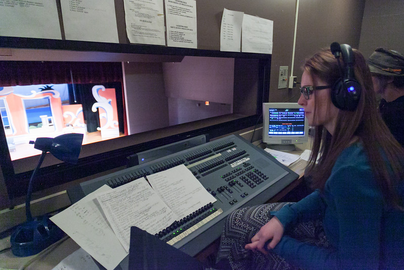 "Tibby McDowell | The Sheridan Press<br /> Kaleigh Padgett runs the sound board during a dress rehearsal of the musical ""The Boy Friend"" at Sheridan High School Tuesday, Feb. 27, 2018. The musical shows at Sheridan High School March 1 - 3 at 7:15 p.m. and Sunday, March 4 at 2 p.m."