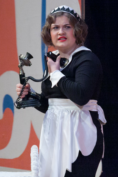 "Tibby McDowell | The Sheridan Press<br /> Taylor Myers, as the maid, answers the phone in the opening scene during a dress rehearsal of the musical ""The Boy Friend"" at Sheridan High School Tuesday, Feb. 27, 2018. The musical shows at Sheridan High School March 1 - 3 at 7:15 p.m. and Sunday, March 4 at 2 p.m."