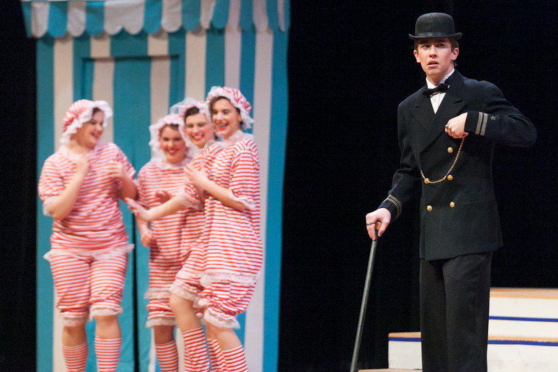 "Tibby McDowell | The Sheridan Press<br /> Hunter Anderson, as Lord Brockhurst, right, reacts to getting caught looking at the girls on the beach during a dress rehearsal of the musical ""The Boy Friend"" at Sheridan High School Tuesday, Feb. 27, 2018. The musical shows at Sheridan High School March 1 - 3 at 7:15 p.m. and Sunday, March 4 at 2 p.m."
