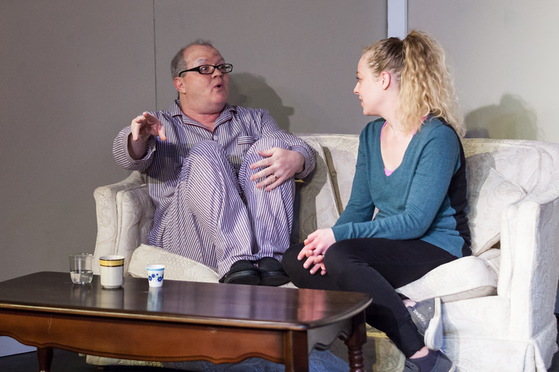"Tibby McDowell | The Sheridan Press<br /> Scott Bateman as Andre, left, gets cozy while talking to his care provider, right, by Jamie Lance, during a rehearsal of ""The Father"" at the Carriage House Theater Thursday, Jan. 11, 2018."