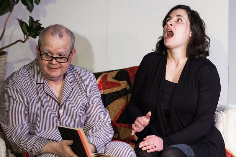 "Tibby McDowell | The Sheridan Press<br /> Dimitra Dugal, as Anne, right, is flustered while trying to explain the situation to her father Andre, left, by Scott Bateman, during a rehearsal of ""The Father"" at the Carriage House Theater Thursday, Jan. 11, 2018."