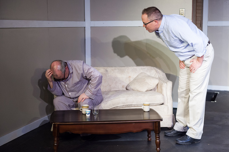 "Tibby McDowell | The Sheridan Press<br /> Scott Bateman as Andre, left, cowers away from Anne's partner Pierre, right, by Eric Detmer, during a rehearsal of ""The Father"" at the Carriage House Theater Thursday, Jan. 11, 2018."