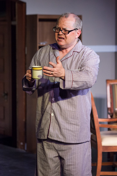 "Tibby McDowell | The Sheridan Press<br /> Scott Bateman as Andre, laments during his morning coffee during a rehearsal of ""The Father"" at the Carriage House Theater Thursday, Jan. 11, 2018."