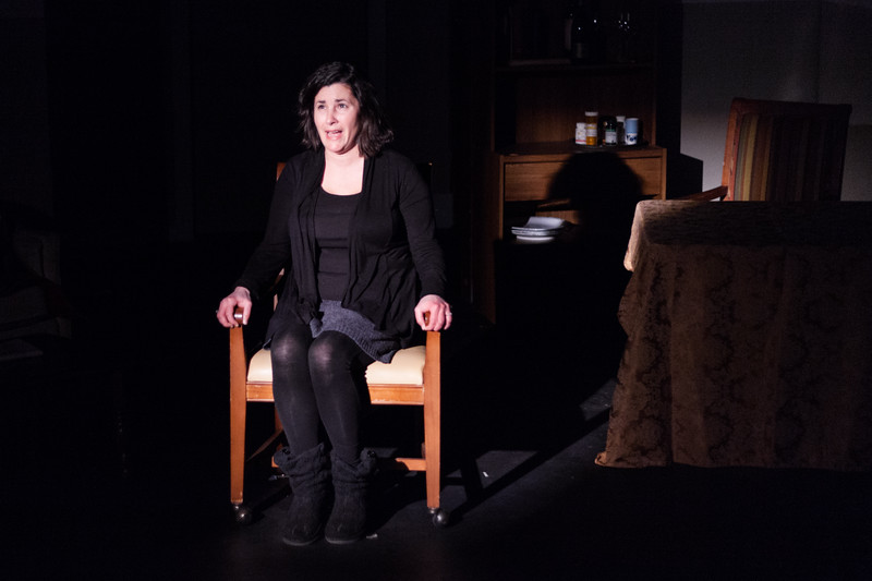 "Tibby McDowell | The Sheridan Press<br /> Dimitra Dugal as Anne recounts the details of a dream she had the previous night during a rehearsal of ""The Father"" at the Carriage House Theater Thursday, Jan. 11, 2018."
