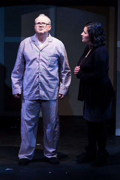 "Tibby McDowell | The Sheridan Press<br /> Scott Bateman as Andre, left, shares a poignant moment with his daughter Anne, right, by Dimitra Dugal, during a rehearsal of ""The Father"" at the Carriage House Theater Thursday, Jan. 11, 2018."