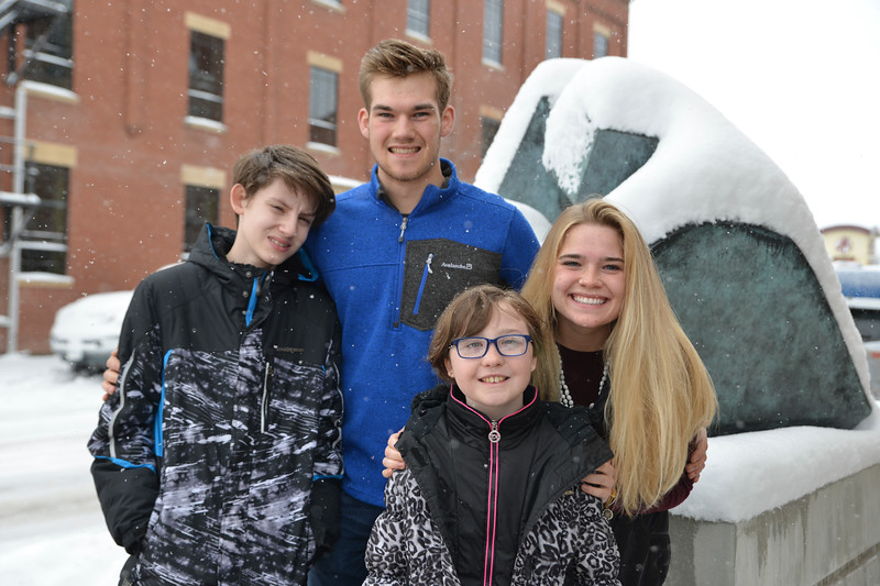 "Justin Sheely | The Sheridan Press<br /> Quinton Brooks, left, and sister Katelynn Brooks have mentored their ""littles"" Keaton Van Norman, 13, left, and Chloe Granum, 10 for more than two years through Wyoming Big Brothers Big Sisters. The Brooks siblings are described as people with happy hearts who give back to the community through volunteering."