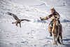 Kazakh eagle hunter competing in Ulaan Baatar.