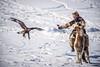 Kazakh eagle hunter competing in Ulaan Baatar.