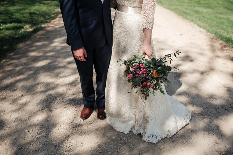 Bride at groom portraits at Oak Hill