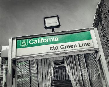 California CTA Green Line Entrance Sign
