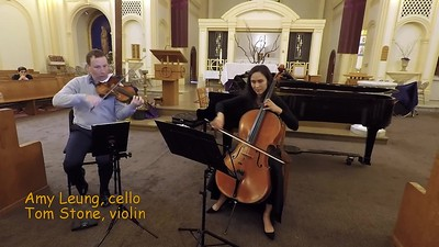 R. Gliere                  3 Pieces from Op.39 Eight Duets for Violin and Cello:                                        Prelude                                        Gavotte                                        Berceuse                                  Tom Stone, violin  and Amy Leung, cello