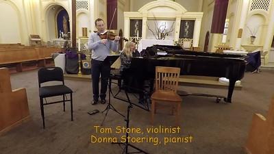 """L.v.Beethoven        """"Spring Sonata"""" Op. 24 for Violin and Piano      Scherzo and Trio  (Allegro molto)                                        Rondo (Allegro ma non troppo)    Tom Stone, violin  and Donna Stoering, piano"""