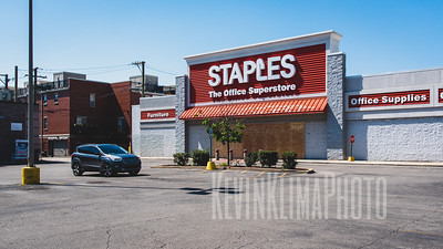 Boarded up Staples.