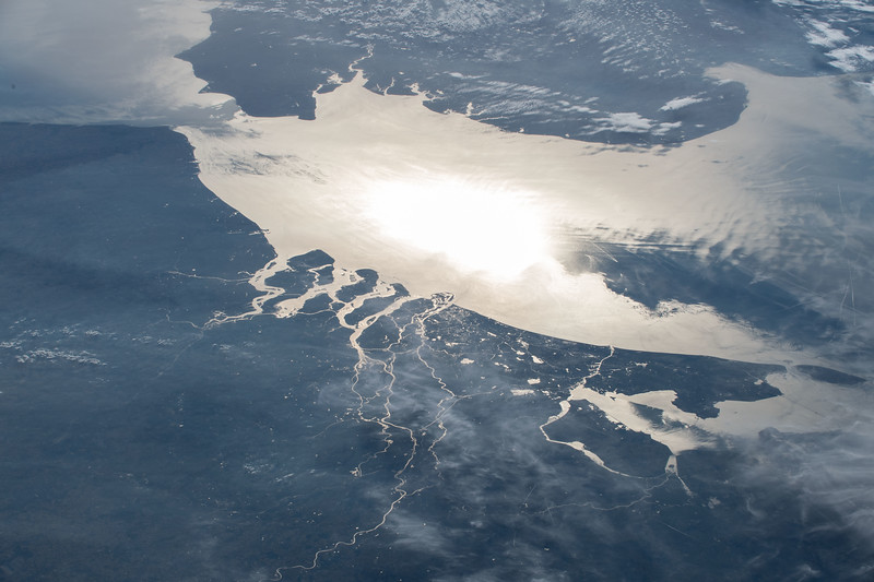 The English Channel, looking west with the ISS over Poland