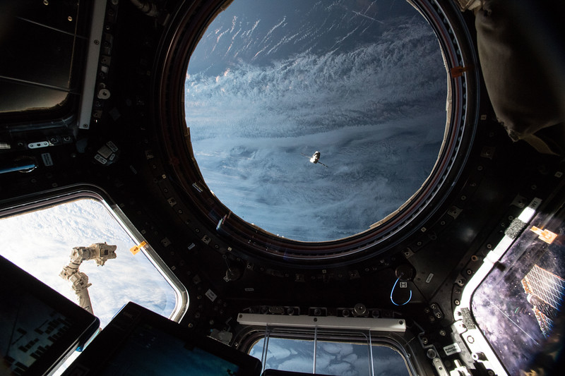 SpaceX Dragon out the cupola