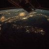 Italy, Corsica, Sardinia, Sicily with moon glint off Adriatic Sea