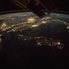 Italy, Corsica, Sardinia, Sicily with moon glint off Adriatic Sea