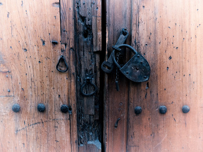 Wood Church Door and Lock