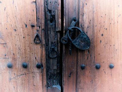 Wood Church Door and Lock