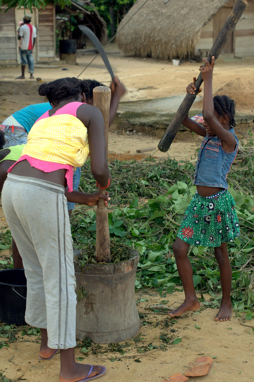 Girls pound ndeku (leaves used for drugging fish) in Pokigron