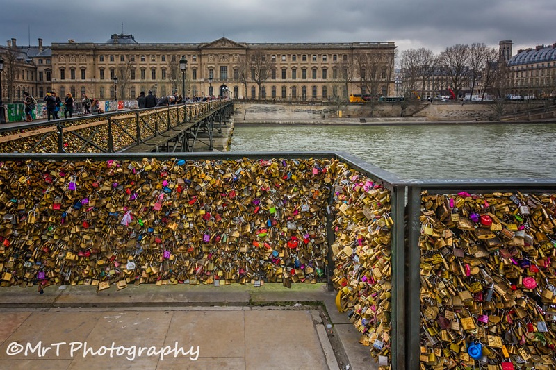 Le Pont des Arts infested with lovelocks Paris