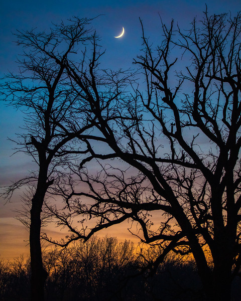 December's Crescent Moonset After Sunset