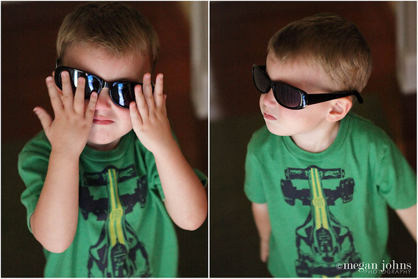 """06-16-2011  My """"cool dude""""!  Evan has 2 pairs of his own sunglasses (these happen to be mine).  A few months ago Patrick got him to start wearing them a little bit and tells him that he's a """"cool dude"""" when he has them on.  Of course he started to repeat that phrase and (obviously) puts the sunglasses on by himself at times!  It's so cute to hear him say """"cool dude."""""""
