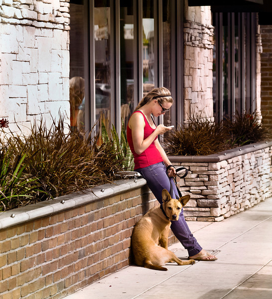 Woman and Her Dog, Main Street, Encinitas, CA
