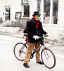 Bicycle Rider, I, Cold Day on a Winter Morning, Santa Fe