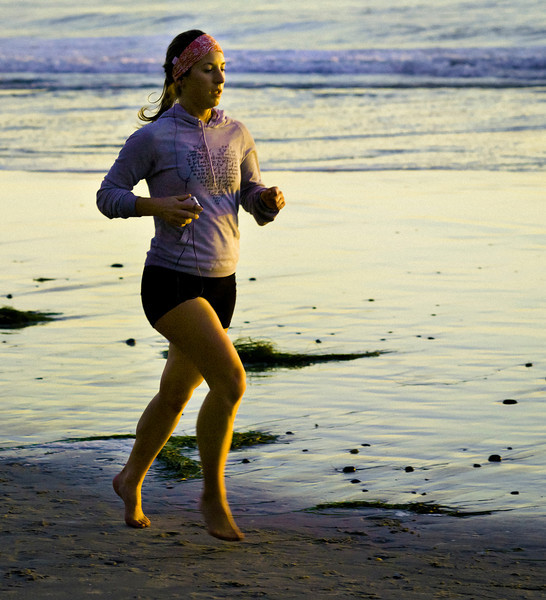 Woman Running, Swami's Beach, Encinitas, CA