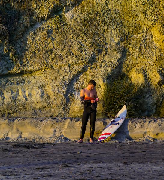 Surfer in Twilight, Swami's Beach, Encinitas, CA