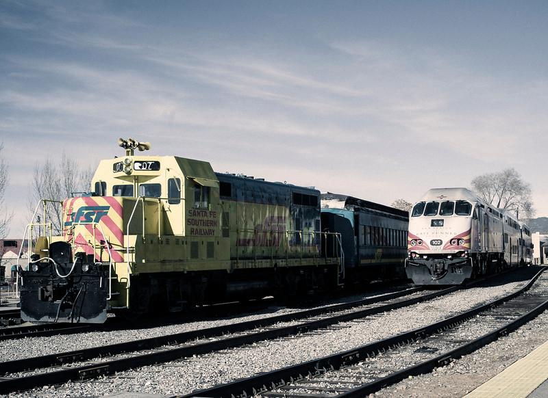 Two Engines, Railroad Yard, Santa Fe, NM