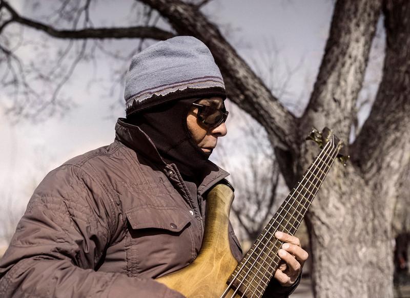 Andre in the Cold, Zocalo, Santa Fe, NM
