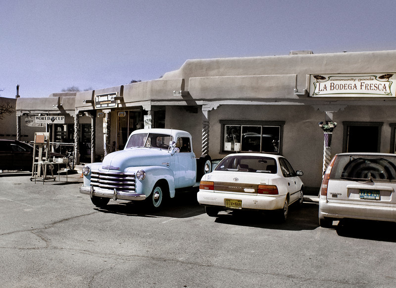 Silver-Blue Pickup, Adjacent to Main Plaza, Taos, NM