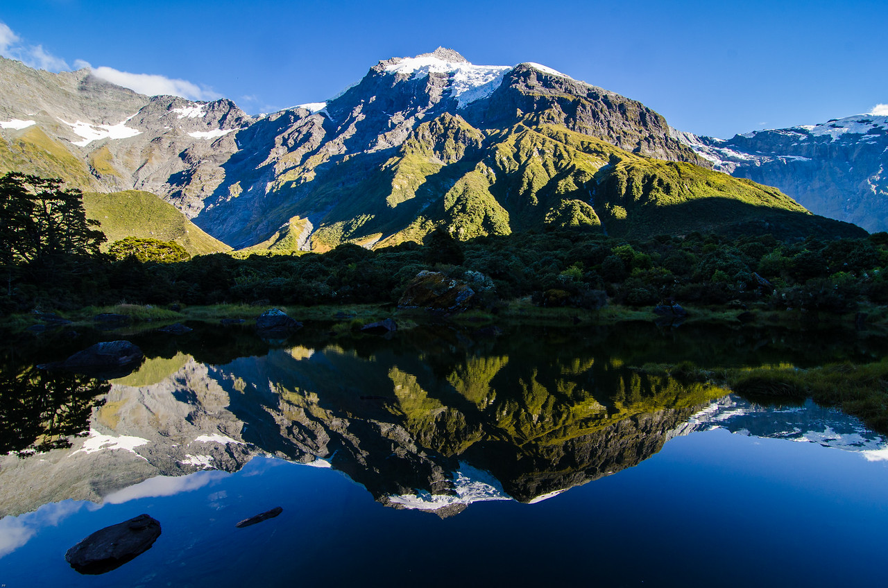 Pollux reflecting in Lake Diana, North Wilkin Valley, New Zealand