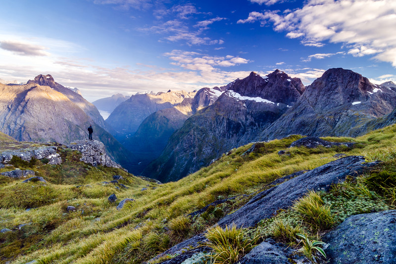 Looking out to Milford Sound from Gertrude Saddle, Fiordland, New Zealand