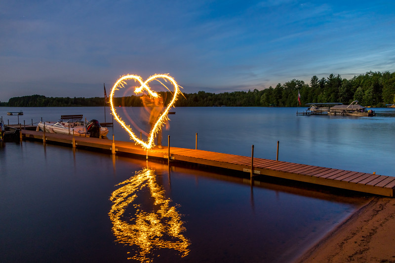 sparklers on the dock