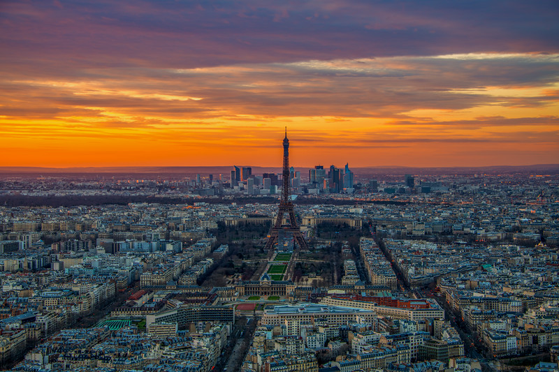 Fiery Parisian Sunset