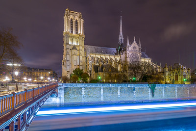 Notre Dame and River Boat Lights Long Exposure