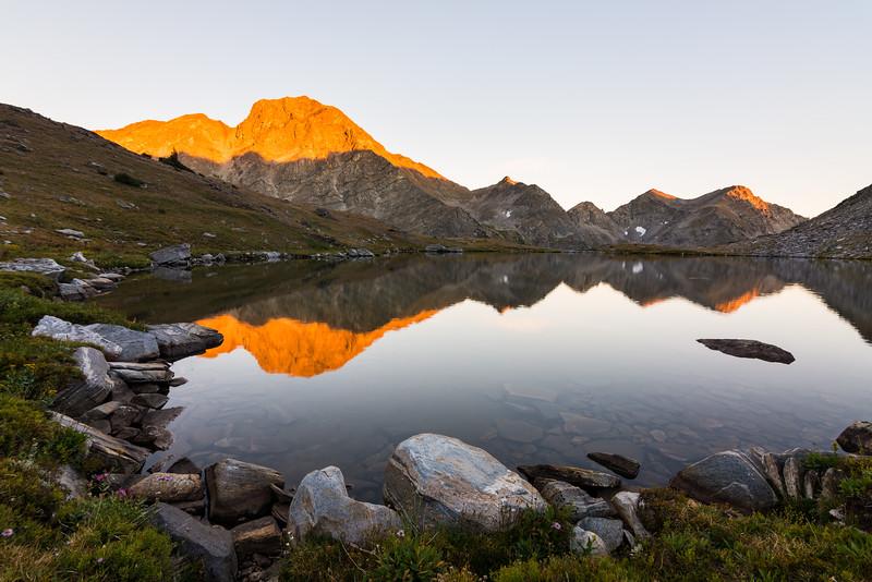 Gallatin Peak reflecting in Chilled Lake, Spanish Peaks Wilderness