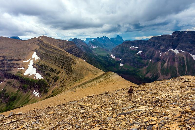 Descending from Flinsch Peak, Glacier National Park