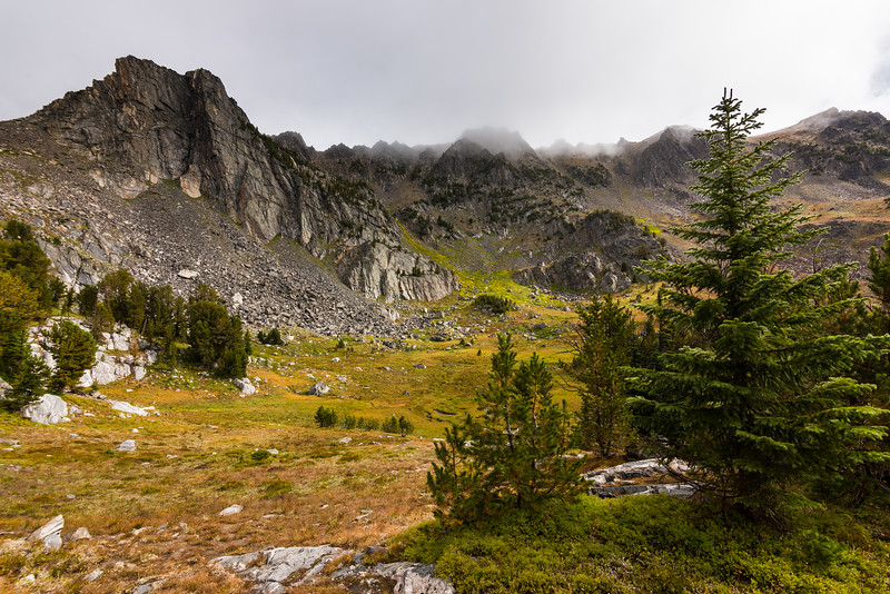 Morning clouds in Beehive Basin, Spanish Peaks Wilderness