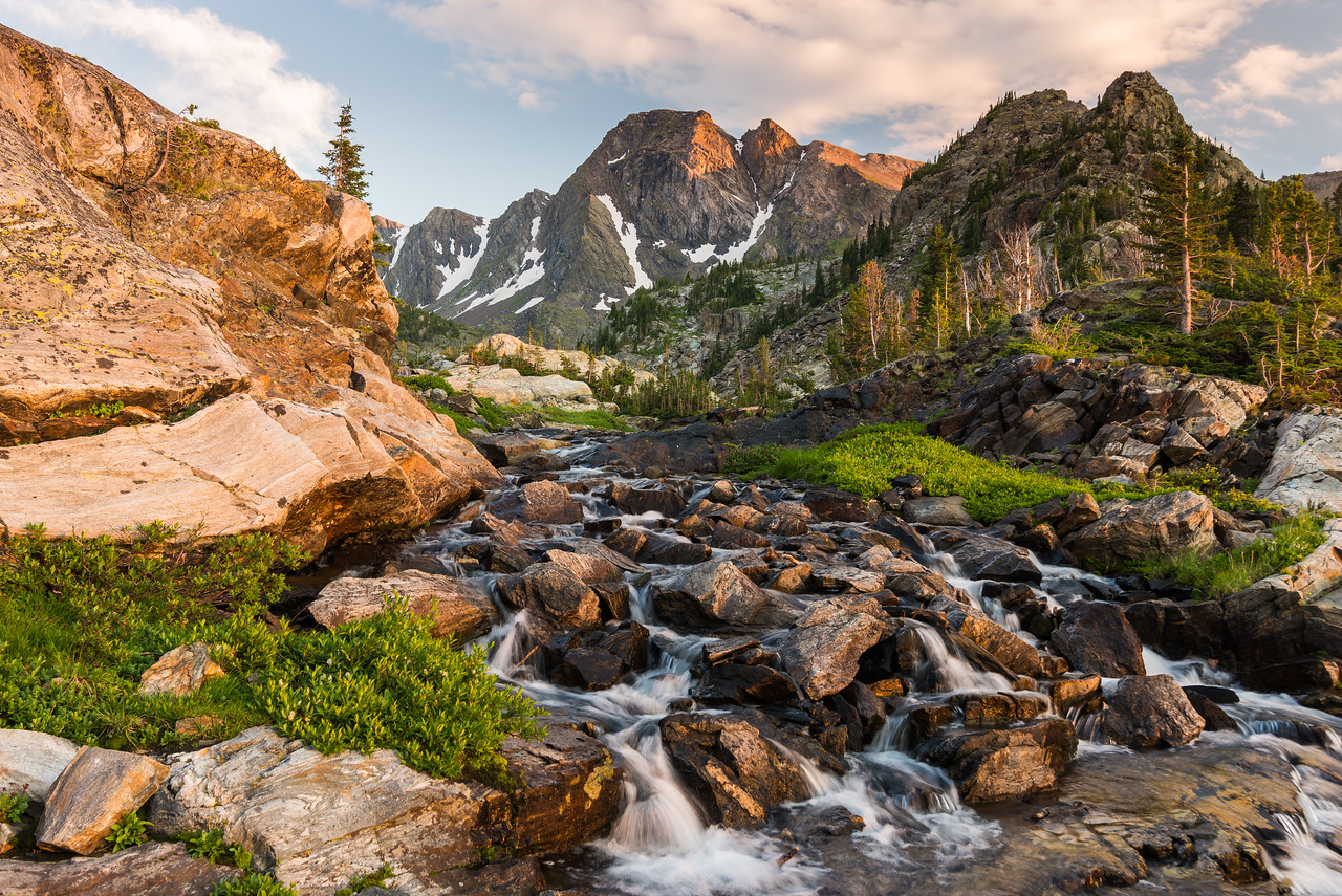 Evening time with Black Mountain and the Pine Creek Lake outlet, Absoaroka-Beartooth Wilderness, Montana