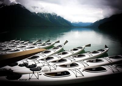 Kayaks on Chilkoot Lake